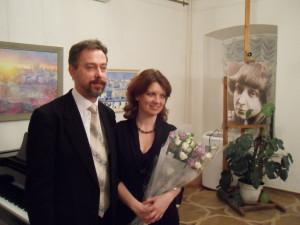 Михаил Школьник и Людмила Биглер после концерта в музее М. Цветаевой